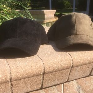 (2) Faux Suede Velcro Strapped Hats